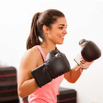 Girl in boxing class